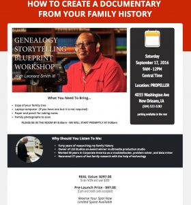 Genealogy Storytelling Blueprint Workshop